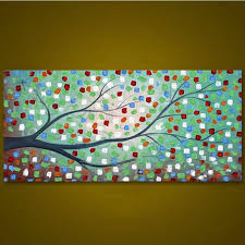 large abstract trees paintings home decor wall art pictures hand painted knife pallete flowers oil