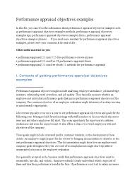 Performance Appraisal Objectives Examples Performance Appraisal
