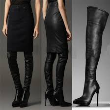 women s leather thigh high boots point toes over the knee high boots high heels