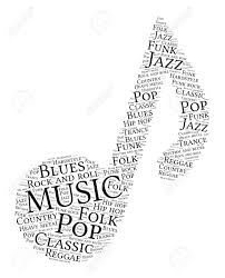 music notes in words words cloud of music made of a note shape with tags on white