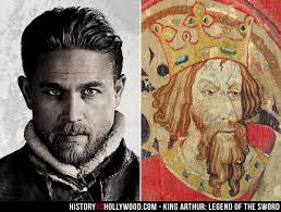 charlie hunnam and king arthur tapestry coat of arms
