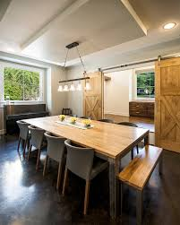 door dining room table. dining table centerpieces room transitional with centerpiece sliding barn door b