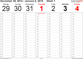 Template Monthly Calendar 2015 Free Printable Editable Calendar 2015 Weekly Calendar 2015