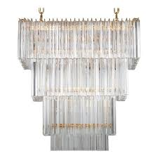 italian rectangular chandelier in murano glass transpa 24 karat gold