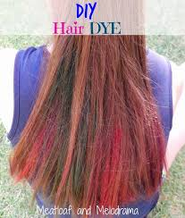 brown hair dyed blue and pink with food coloring