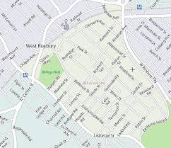 unhappily west roxburys delightful and desirable highlands micro neighborhood across centre from bellevue hill isnt identified on the map bellevue hill post office
