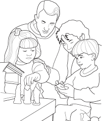 Small Picture A family setting up their Nativity Scene for Christmas A coloring