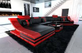 Black Leather Sectional Sofa With Recliner 4087 Red With Black Leather Sectional Sofa Recliners Chaise Value