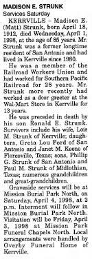 Obituary for MADISON E. STRUNK, 1912-1998 (Aged 85) - Newspapers.com