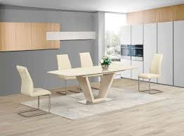 extending cream glass high gloss dining table and 6 cream chairs set
