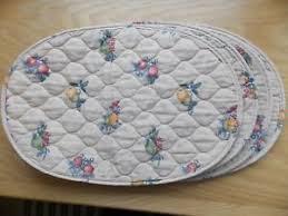 Vintage Set of 4 Cloth Oval QUILTED PLACEMATS Fruit Print on beige ... & Image is loading Vintage-Set-of-4-Cloth-Oval-QUILTED-PLACEMATS- Adamdwight.com
