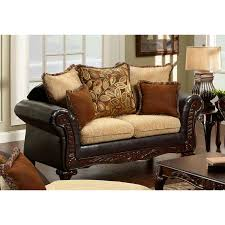 furniture of america doncaster vintage light brown espresso faux leather loveseat