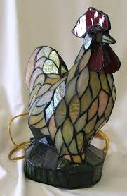 vintage stained glass rooster lamp lot for