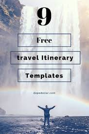 Free Travel Itinerary Templates For Travel Flight