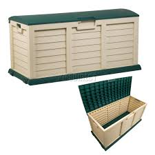 sentinel starplast outdoor garden plastic storage chest cushion shed box 390l green beige