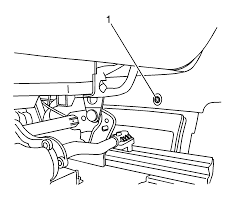 Move both front seats to the fully forward 10 reposition the inboard seat track trim 1 in order to gain access to the rear console side panel screw 2