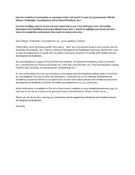developmental disability awareness month letter to your local government