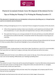 Recruitment Cv Chartered Accountants Ireland Career Development