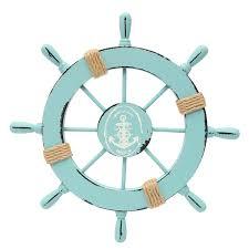 light blue wooden anchor boat ship wheel wall plaque nautical rudder home decor