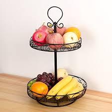 vanra rotatable fruit basket countertop fruit stand metal wire fruit bowl e rack 2 tier b072fd4fl2