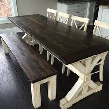 Farmhouse Table Farmhouse Dining Room Table Bench Seating Design Two Tone Tamcam10 Pinterest Pin By Christin Clark On Furniture Pinterest Farmhouse Table