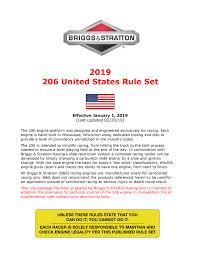 Briggs Spec Chart 2019 206 United States Rule Set
