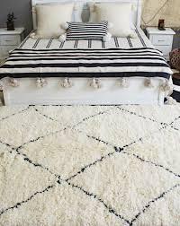 authentic moroccan wool rug cream black diamond patterns 170 250 cm 67 98 inch