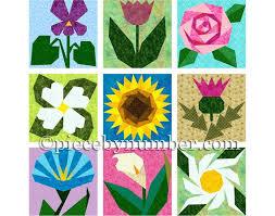 Paper Piecing Flower 9 Flower Quilt Patterns Paper Piecing Quilt Patterns Instant Etsy