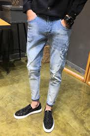 Light Summer Jeans Mens 2019 Spring Slim Fit Casual Ripped Jeans Men Summer New Men