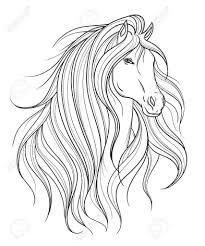 Paardenhoofd In Lijnstijl Tattoo Kunst Geïsoleerd Element Zwart