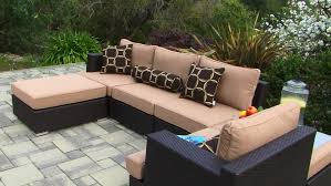 outdoor sectional home depot. Sectional Wicker Sofa With Chaise And Brown Cushions Above Stone Pavers Patio In Home Depot Design Ideas Outdoor L