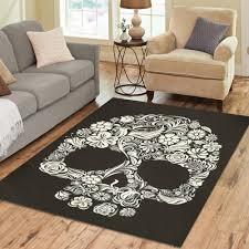 interestprint sugar skull day of the dead polyester area rug floor mat 7 x