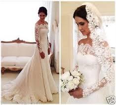 elegant white ivory lace off shoulder long sleeve wedding dress