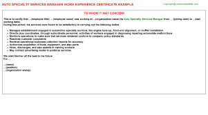 Auto Specialty Services Manager Work Experience Certificate
