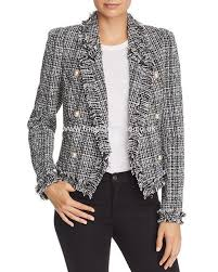 aqua double ted tweed jacket 100 exclusive black white new arrival