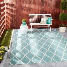 nourison aqua and ivory geometric diamonds indoor outdoor area rug 7 9 x