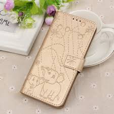 details about gold 3d elephant embossed pu leather wallet case cover for various mobile phones
