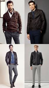 men s leather jacket casual shirt and trousers outfit inspiration lookbook
