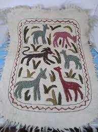 vintage estate found scandinavian folk art wool rug