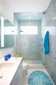 sparkling blue printed oval bath rug for small narrow bathroom ideas with glass shower enclosure