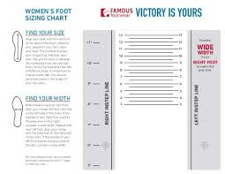 Wide Womens Foot Sizing Chart Famous Footwear