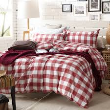 aliexpress com red and white plaid duvet cover set for