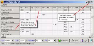 Matrix Help Raw Materials Viewing Materials In A
