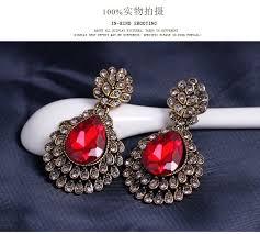 vintage red chandelier earrings drop bridal earrings pageant crystal earrings prom earrings