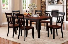 cherry dining table. HE-5079BK-66 7 Pc Kirtland Collection Black And Cherry Finish Wood Dining Table