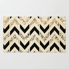 black gold glitter herringbone chevron on cream rug