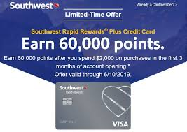 Southwest Visa Credit Card 60 000 Rapid Rewards Points