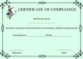 Certificate Of Compliance Template Word 40 Certificate Of Compliance Template Markmeckler Template