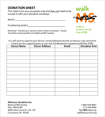 Donation Sheet Template 9 Free Pdf Documents Download