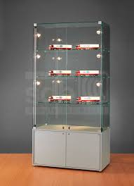 contemporary display case glass illuminated commercial